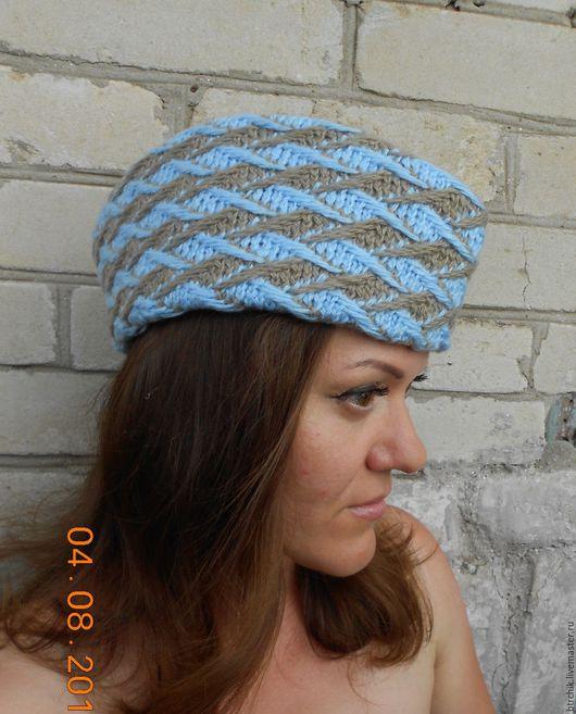 Шляпы ручной работы. Ярмарка Мастеров - ручная работа. Купить ПИЛОТКА. Handmade. В полоску, стильный аксессуар, пряжа шерстяная