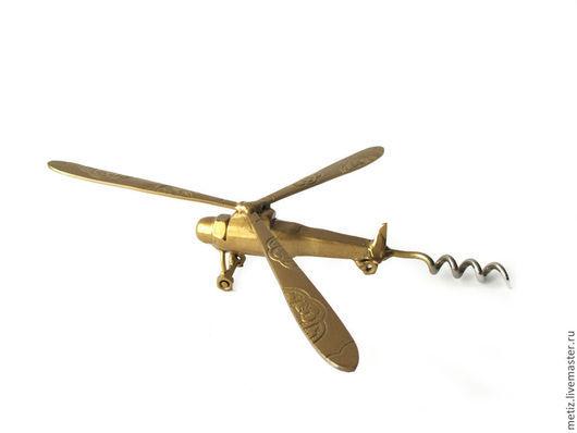 """Подарки для мужчин, ручной работы. Ярмарка Мастеров - ручная работа. Купить Сувенир """"Штопор Вертолет"""". Handmade. Золотой, подарок из металла"""