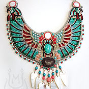 Украшения handmade. Livemaster - original item Egyptian necklace with scarab with Lotus and turquoise. Handmade.