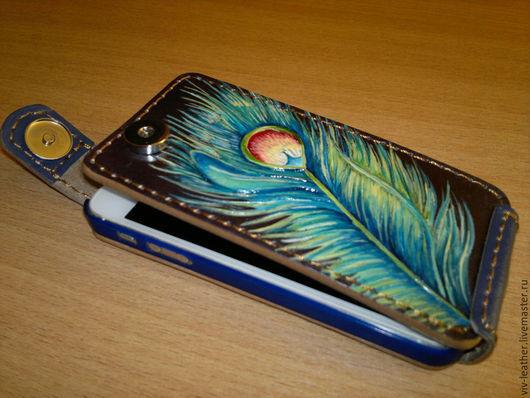 Для телефонов ручной работы. Ярмарка Мастеров - ручная работа. Купить Чехол для телефона из натуральной кожи. Handmade. Синий