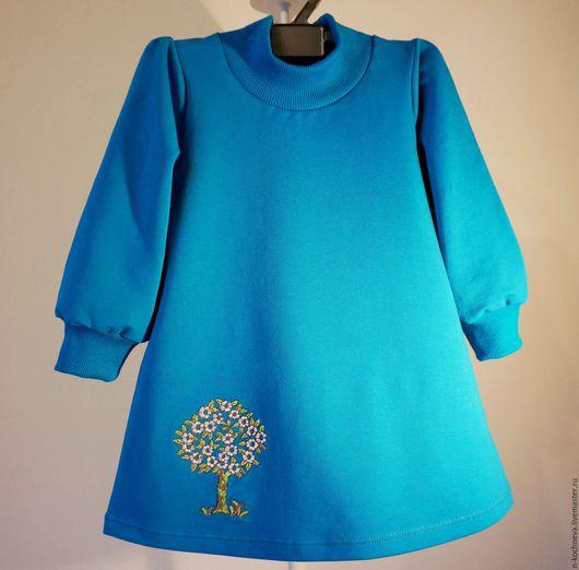 Одежда для девочек, ручной работы. Ярмарка Мастеров - ручная работа. Купить Детское платье трикотажное с яблонькой. Handmade. Летнее платье
