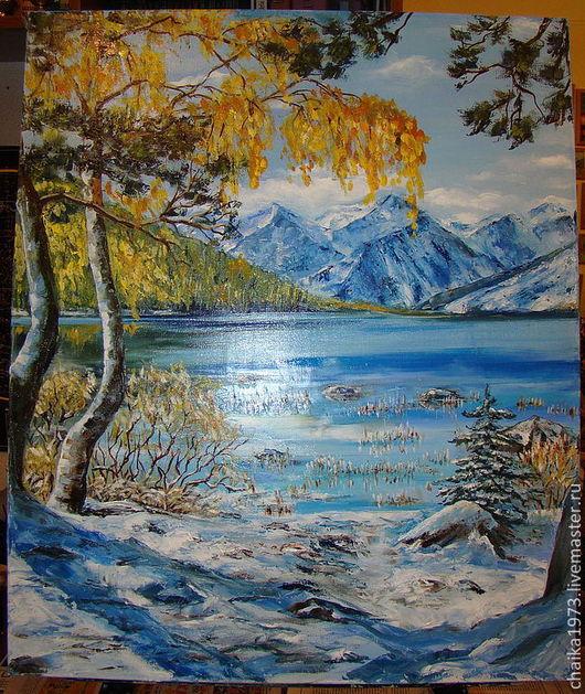 Пейзаж ручной работы. Ярмарка Мастеров - ручная работа. Купить осень.... Handmade. Пейзаж, осень, озеро, горы, масло, холст
