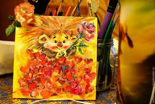 Животные ручной работы. Ярмарка Мастеров - ручная работа. Купить Солнечный Ежик ( теперь в домике). Handmade. Рыжий, сердечко