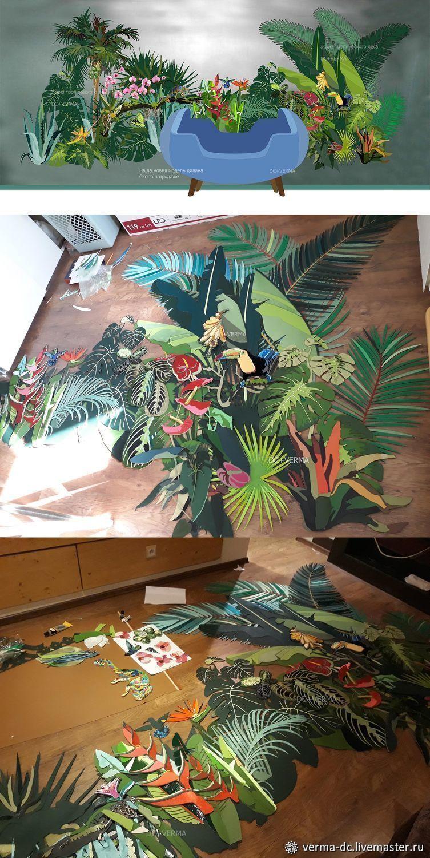 Текстиль, ковры ручной работы. Ярмарка Мастеров - ручная работа. Купить Tropical Forest panno. Handmade. Орхидеи, лес, шёлк