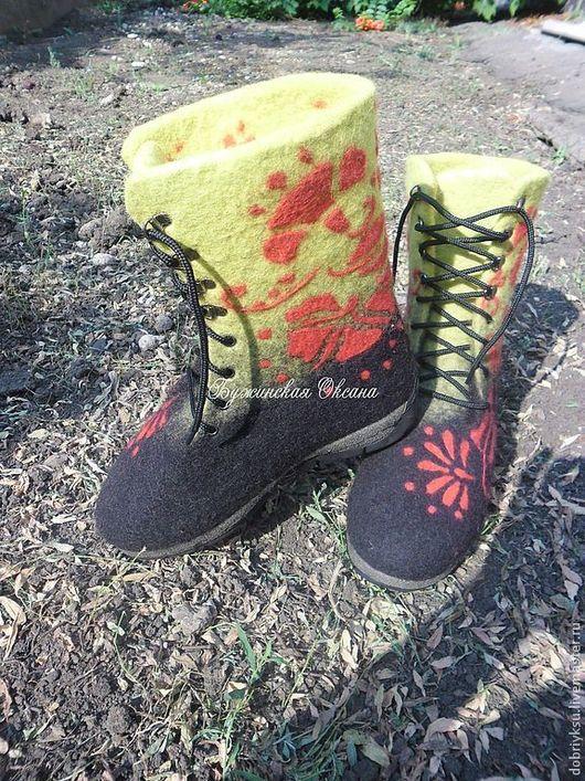 """Обувь ручной работы. Ярмарка Мастеров - ручная работа. Купить валенки """"Хохлома"""". Handmade. Черный цвет, валенки ручной валки"""