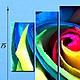 """Картины цветов ручной работы. полиптих """" Разноцветная роза """". Картины (art59). Интернет-магазин Ярмарка Мастеров."""