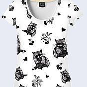 """Одежда ручной работы. Ярмарка Мастеров - ручная работа Женская футболка """"Еноты"""". Handmade."""