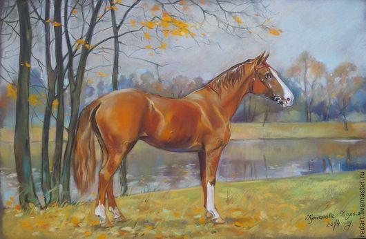 Пейзаж ручной работы. Ярмарка Мастеров - ручная работа. Купить В октябре.. Handmade. Рыжий, осень, конь, осенний пейзаж