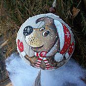 Подарки к праздникам handmade. Livemaster - original item Linen Christmas ball... Christmas Dog on happiness)) Painting.. Handmade.