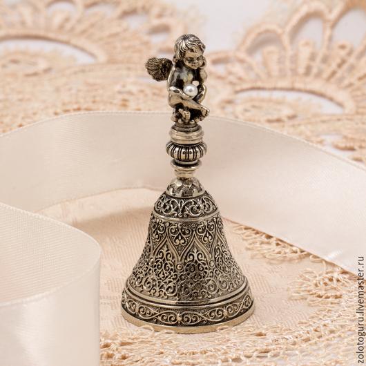 """Колокольчики ручной работы. Ярмарка Мастеров - ручная работа. Купить Колокольчик """"Жемчужный ангел"""" из бронзы и серебра. Handmade. Серебро 925"""