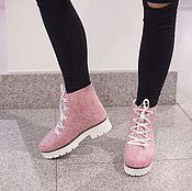 Обувь ручной работы. Ярмарка Мастеров - ручная работа Валяные ботинки  Розовое настроение. Handmade.
