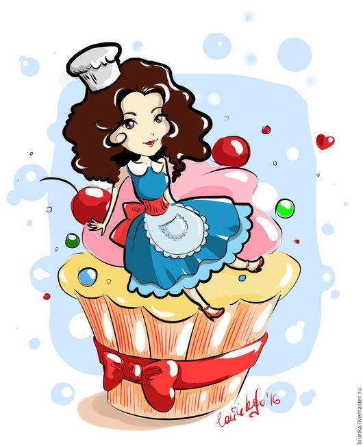Персонаж, выполненный в программе Photoshop, по фотографии владельца домашней пекарни :)