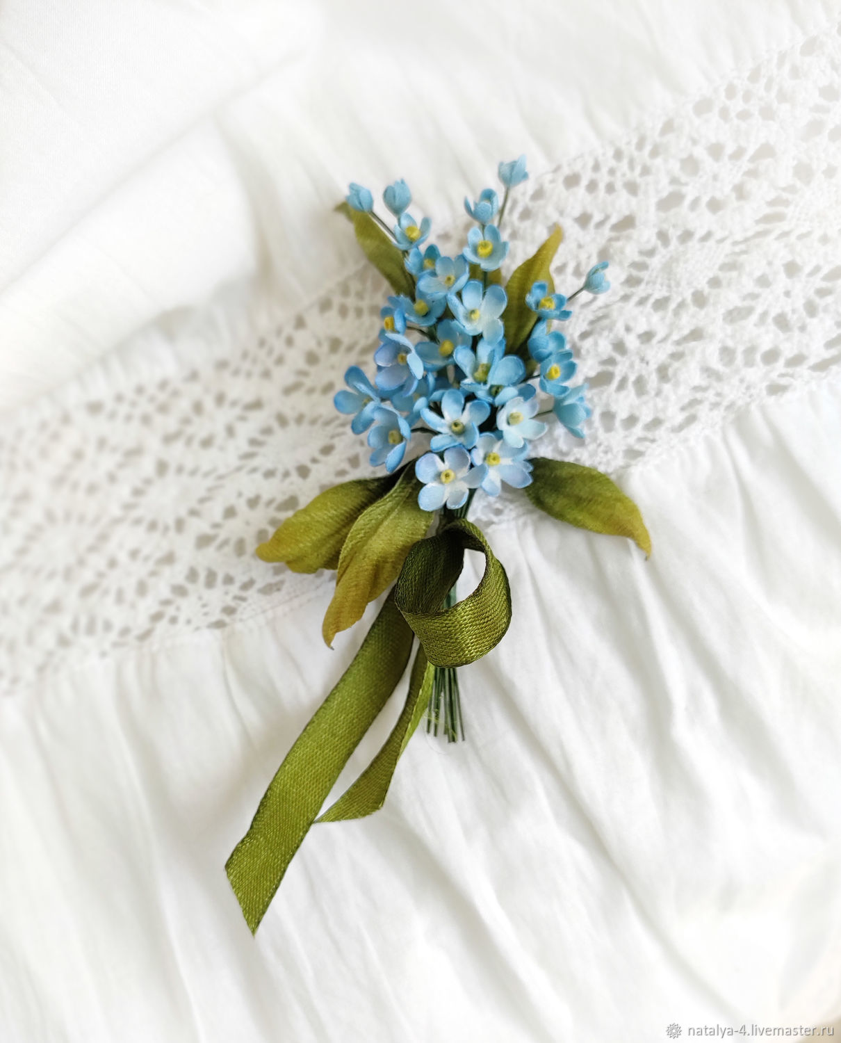 Forget-me-not silk brooch, Brooches, Rostov-on-Don,  Фото №1