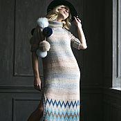 """Одежда ручной работы. Ярмарка Мастеров - ручная работа Платье вязаное """" Весеннее небо"""". Handmade."""