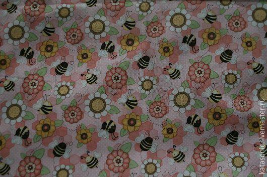 Шитье ручной работы. Ярмарка Мастеров - ручная работа. Купить 1286 Остаток. Пчелы.  Американская ткань. Handmade. Бледно-розовый