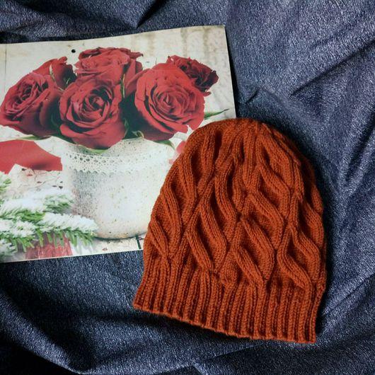 Шапки ручной работы. Ярмарка Мастеров - ручная работа. Купить Женская зимняя шерстяная шапка с ложной косой. Handmade. Шапка