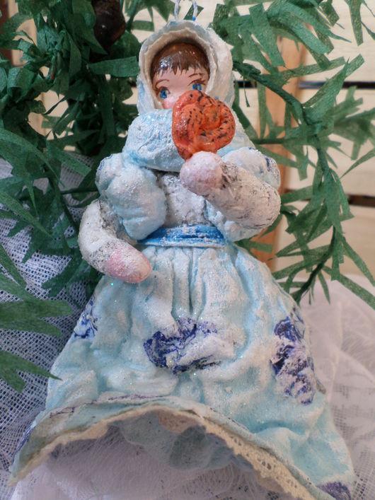 Коллекционные куклы ручной работы. Ярмарка Мастеров - ручная работа. Купить Елочная  ватная игрушка.Барышня с калачом.. Handmade. Вата