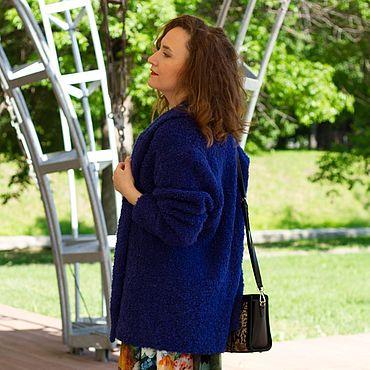 Одежда ручной работы. Ярмарка Мастеров - ручная работа Кардиган вязаный синий. Handmade.