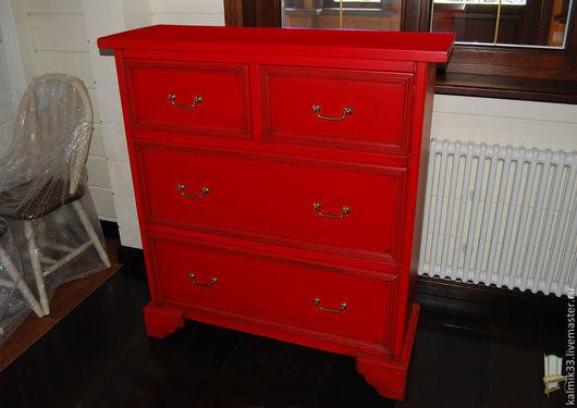 Мебель ручной работы. Ярмарка Мастеров - ручная работа. Купить Комод красный. Handmade. Ярко-красный, комод из дуба