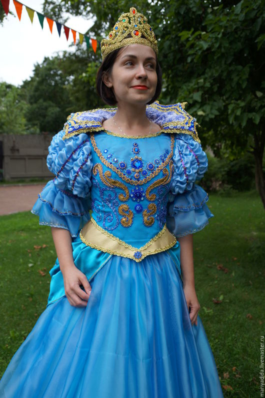 Карнавальные костюмы ручной работы. Ярмарка Мастеров - ручная работа. Купить принцесса 2. Handmade. Синий, креп-сатин