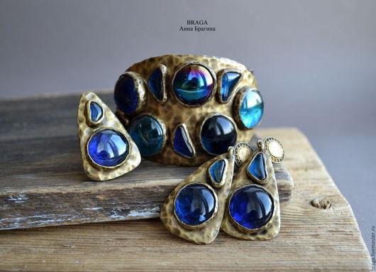 Комплекты украшений ручной работы. Ярмарка Мастеров - ручная работа. Купить Комплект Византия с синим стеклом. Handmade. Тёмно-синий