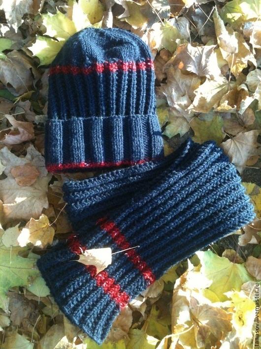 Шапки и шарфы ручной работы. Ярмарка Мастеров - ручная работа. Купить Синяя шапочка и шарфик для мальчика. Handmade. Тёмно-синий
