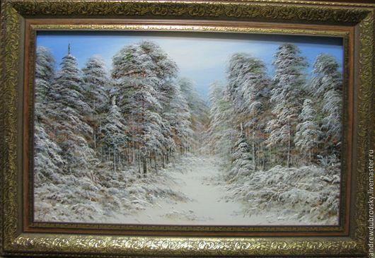 Пейзаж ручной работы. Ярмарка Мастеров - ручная работа. Купить Зимний пейзаж. Handmade. Лес, зима