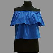 Одежда ручной работы. Ярмарка Мастеров - ручная работа Летняя блузка-трапеция модель 22-04 из хлопка темно-синего цвета.. Handmade.