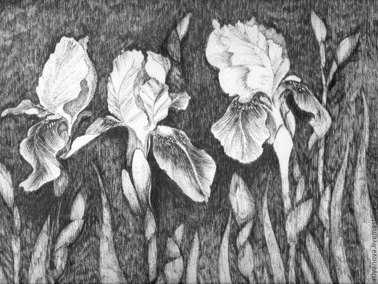 Картины цветов ручной работы. Ярмарка Мастеров - ручная работа. Купить Ирисы. Handmade. Белый, лепестки, чёрная ручка