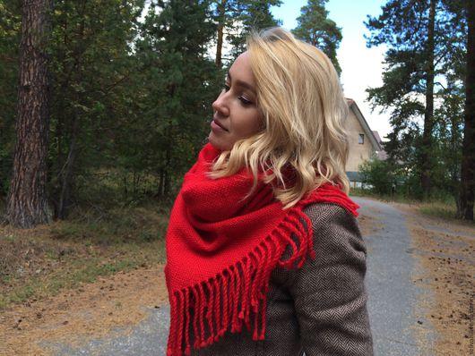 Шарфы и шарфики ручной работы. Ярмарка Мастеров - ручная работа. Купить Шарф тканый шарф палантин красный пуховый теплый. Handmade.