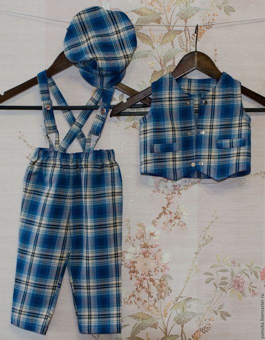 Одежда для мальчиков, ручной работы. Ярмарка Мастеров - ручная работа. Купить Комплект брюки, жилет, кепка. Handmade. Хлопок, жилет