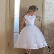 Работы для детей, ручной работы. Ярмарка Мастеров - ручная работа Нарядное пышное, кружевное платье для девочки. Handmade.