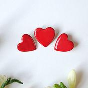"""Украшения ручной работы. Ярмарка Мастеров - ручная работа Броши """"Сердце"""" красные. Handmade."""