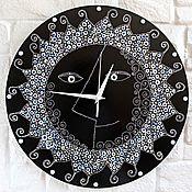 Для дома и интерьера handmade. Livemaster - original item Painted clock Sun Wooden clock silent. Handmade.