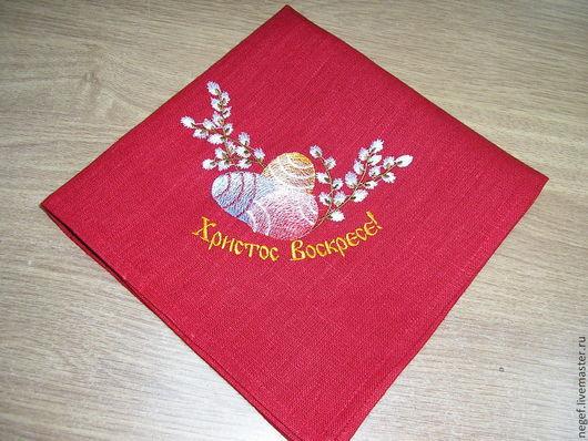 """Текстиль, ковры ручной работы. Ярмарка Мастеров - ручная работа. Купить салфетка пасхальная""""весна"""". Handmade. Ярко-красный, пасхальный декор"""