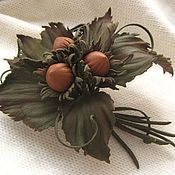Украшения handmade. Livemaster - original item Leather flowers. Decoration brooch pin THREE wishes .. Handmade.