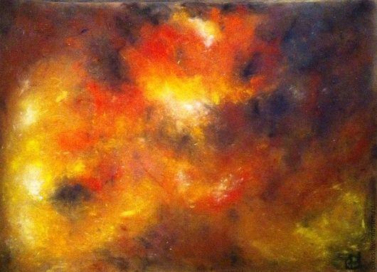 Фэнтези ручной работы. Ярмарка Мастеров - ручная работа. Купить Картина пастелью - глубоко в космосе 2. Handmade. Оранжевый