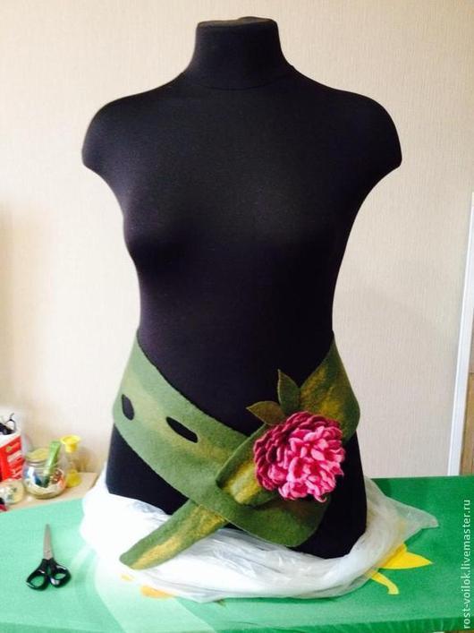 """Пояса, ремни ручной работы. Ярмарка Мастеров - ручная работа. Купить Пояс-шарф """"Пион"""". Handmade. Тёмно-зелёный"""