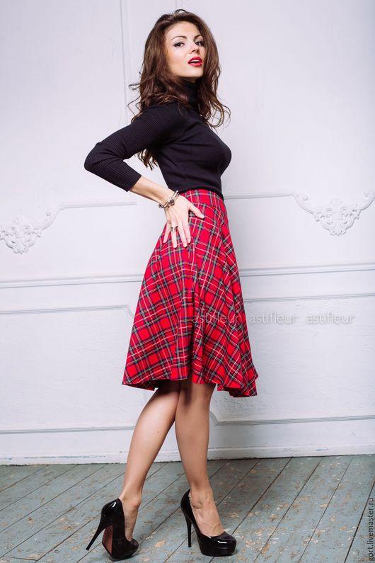 Юбки ручной работы. Ярмарка Мастеров - ручная работа. Купить Теплая шерстяная Юбка в красную шотландскую клетку миди. Handmade.