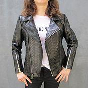 Одежда ручной работы. Ярмарка Мастеров - ручная работа Скидка 30%, Куртка байкерский стиль из кожи питона высшего качества. Handmade.