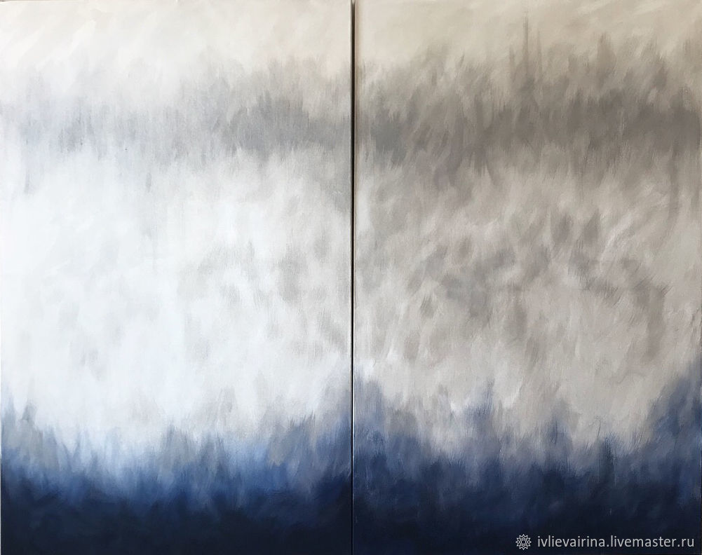 Diptych Ocean blue 80h100 ×  cm, Pictures, Moscow,  Фото №1