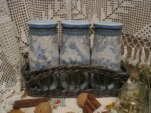 """Кухня ручной работы. Ярмарка Мастеров - ручная работа. Купить Комплект баночек для специй и трав """" Нежность"""". Handmade."""