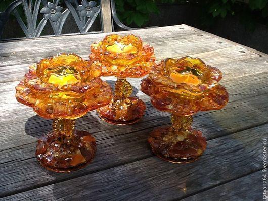 """Подсвечники ручной работы. Ярмарка Мастеров - ручная работа. Купить Подсвечник """"Янтарный цветок"""". Handmade. Оранжевый, янтарь, подарок подруге"""