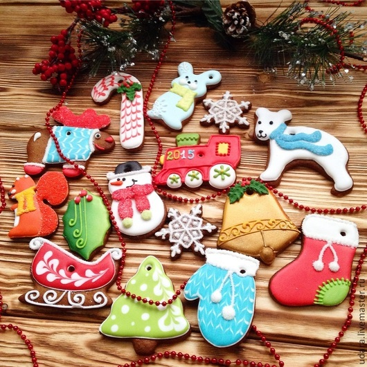 Кулинарные сувениры ручной работы. Ярмарка Мастеров - ручная работа. Купить Яркие елочные игрушки ! Набор имбирного печенья. Handmade.