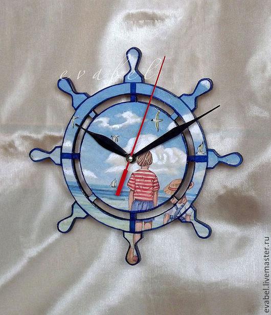 Часы для дома ручной работы. Ярмарка Мастеров - ручная работа. Купить часы настенные В ожидании. Handmade. Синий
