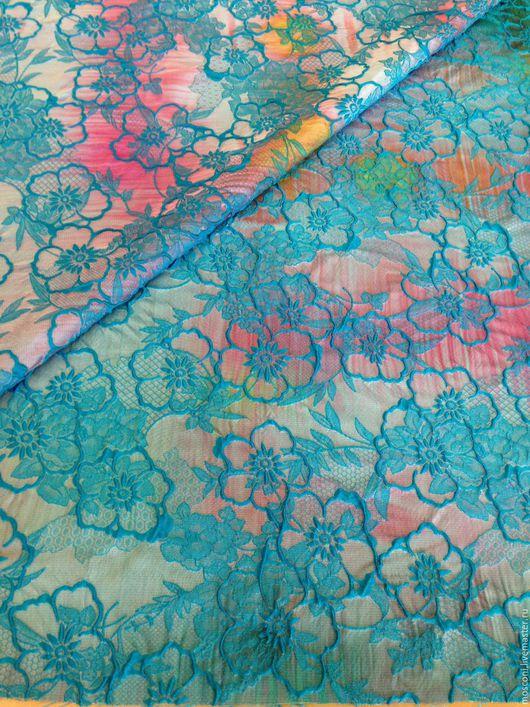 Шитье ручной работы. Ярмарка Мастеров - ручная работа. Купить Ткань Бирюзовая . Италия. Handmade. Разноцветный, платье летнее