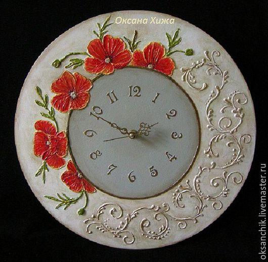 """Часы для дома ручной работы. Ярмарка Мастеров - ручная работа. Купить часы """"Маки"""". Handmade. Комбинированный, объемная картина, интерьер"""