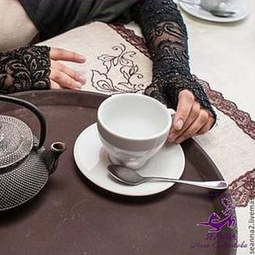 Аксессуары ручной работы. Ярмарка Мастеров - ручная работа Митенки-перчатки кружевные длинные, густо расшитые черным бисером. Handmade.