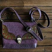 Сумки и аксессуары handmade. Livemaster - original item Bag made of genuine leather and suede in the boho style plum. Handmade.