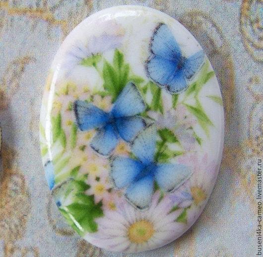Для украшений ручной работы. Ярмарка Мастеров - ручная работа. Купить Кабошон Голубые бабочки 30х40мм, фарфор. Handmade. Камея